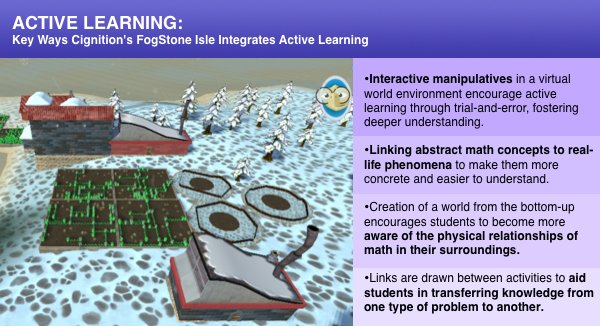 Active math learning in FogStone Isle